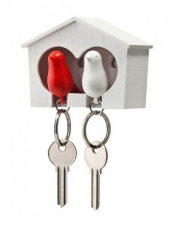 Qualy vogelhuisje Sparrow - sleutelhanger duo rood