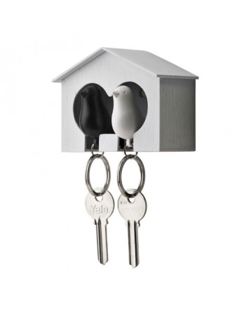 Qualy vogelhuisje Sparrow - sleutelhanger duo zwart