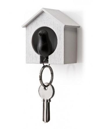 Qualy vogelhuisje Sparrow - sleutelhanger zwart