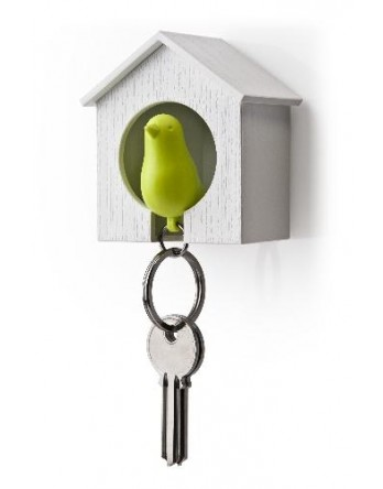 Qualy vogelhuisje Sparrow - sleutelhanger groen