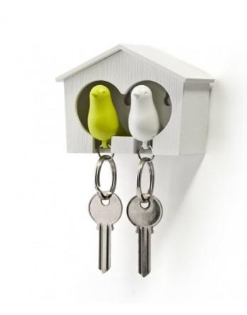 Qualy vogelhuisje Sparrow - sleutelhanger duo groen