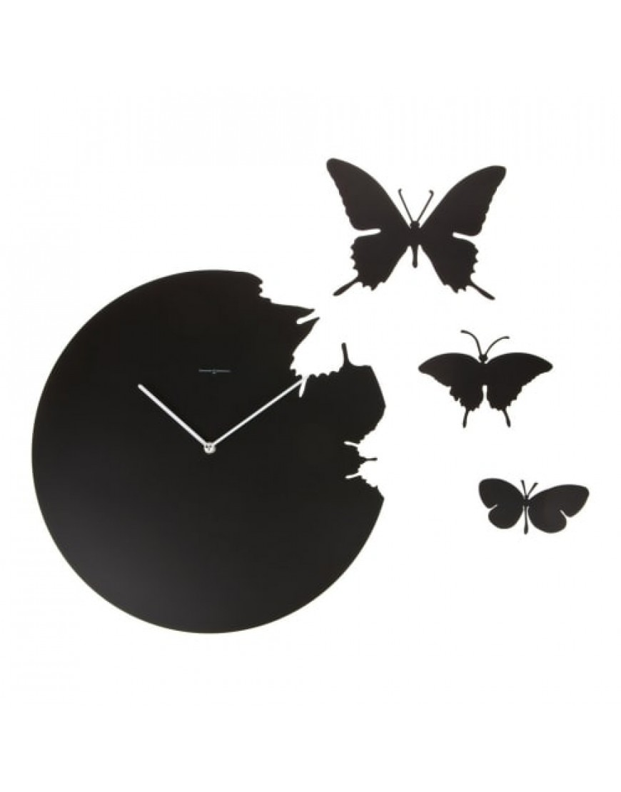 diamantini domeniconi klok wandklok butterfly zwart. Black Bedroom Furniture Sets. Home Design Ideas