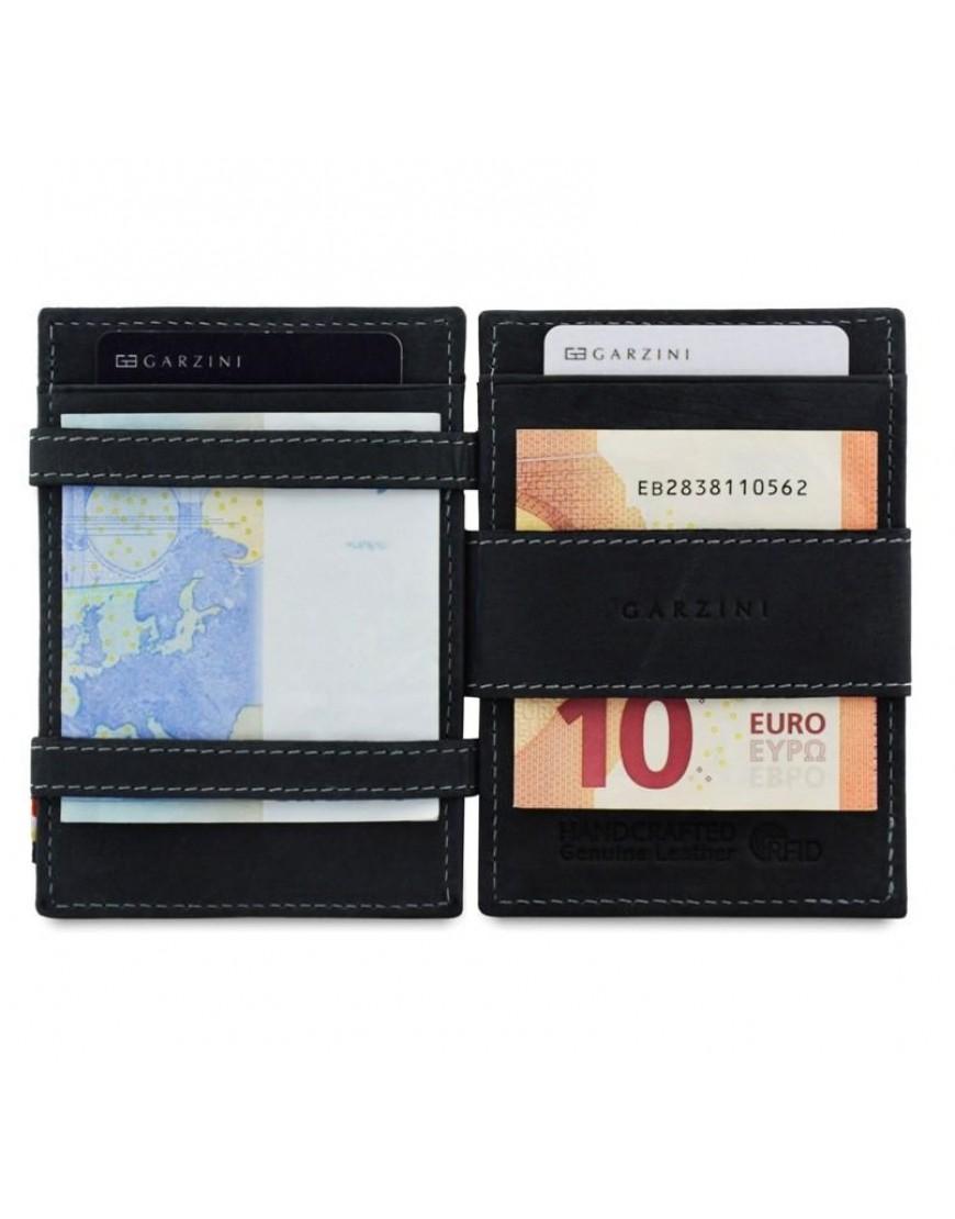 Cb Portemonnee Heren.Garzini Rfid Essenziale Magic Wallet Leder Carbon Zwart Lederen