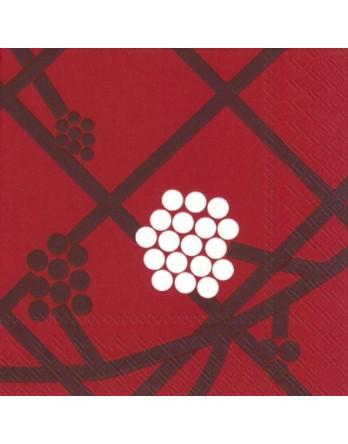 Marimekko papieren servet Hortensie rood