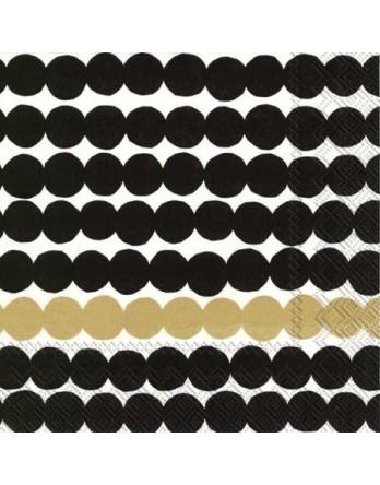Marimekko papieren servet Rasymatto zwart / goud