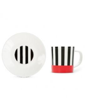 Remember espresso kop + schotel - black stripes