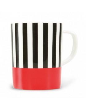 Remember mok met oor porselein - black stripes