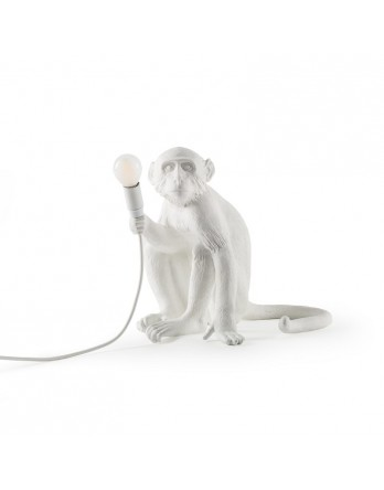 Seletti Monkey zittend lamp - wit