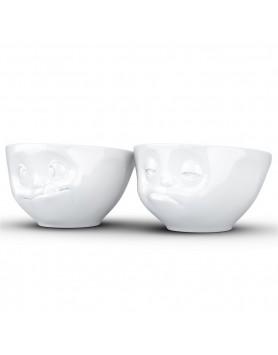 Tassen - schaal set Tasty & Snoozy 200ml wit