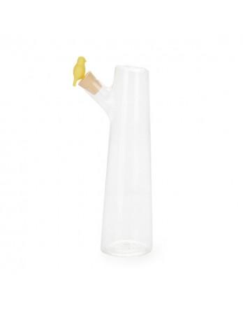 Balvi Birdie karaf vogel 1 L glas transparant/geel