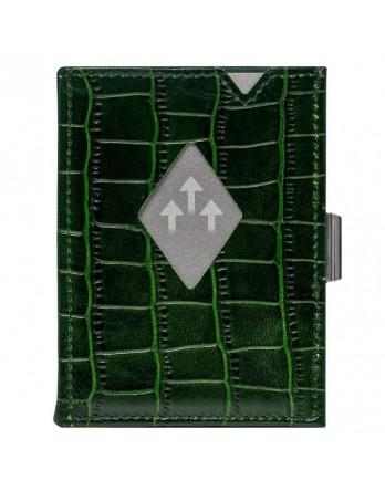 Exentri Wallet - leer - RFID blok - caiman groen