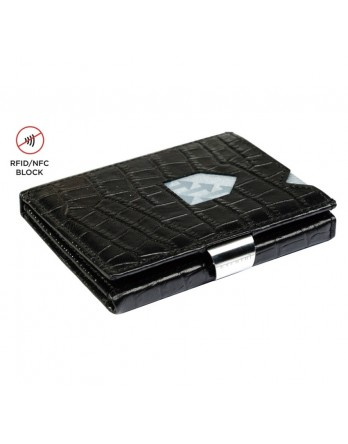 Exentri Wallet - leer - RFID blok - croco zwart