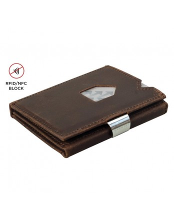Exentri Wallet - leer - RFID blok - nubuck bruin