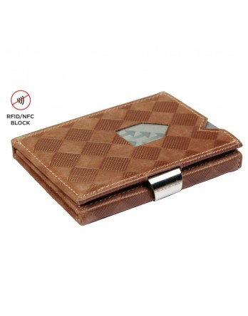 Exentri Wallet - leer - RFID blok - zand chess
