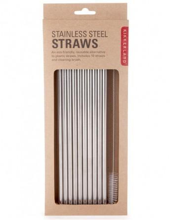 Kikkerland metalen rietjes met borstel - 10 stuks