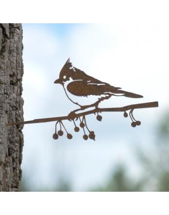 Metalbird Kuifmees cortenstaal