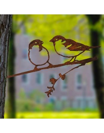 Metalbird Mus Cortenstalen vogel
