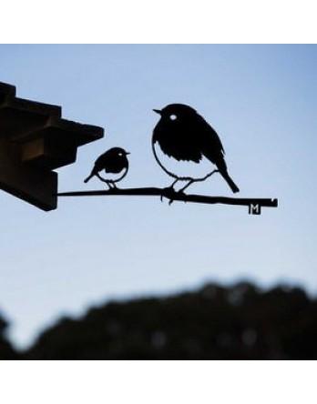 Metalbird Roodborst duo cortenstaal