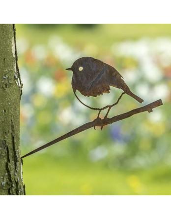 Metalbird - Cortenstalen vogelsilhouet - Roodborstje