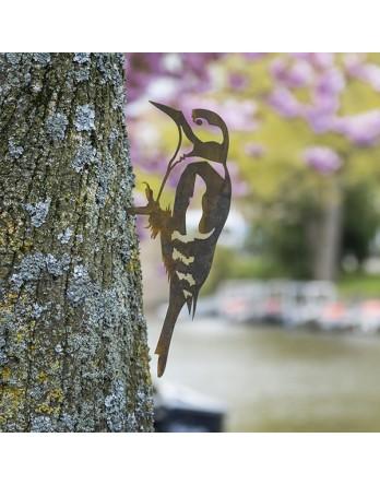 Metalbird Specht cortenstalen vogel