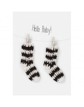 Räder wenskaart / kaart hello baby socks