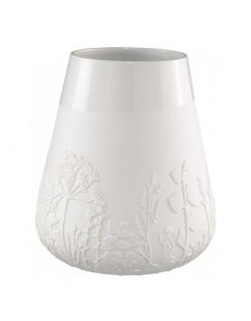Räder design vaas met reliëf motief bloemen wit H28