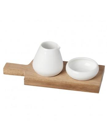 Räder gourmet olie en zout set met houten plank