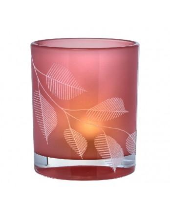 Räder theelichthouder bladeren glas roze