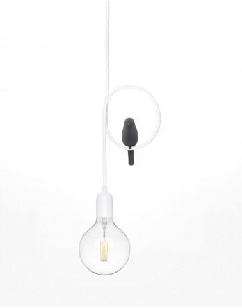 Studio Macura - OKO hanglamp wit, vogel zwart