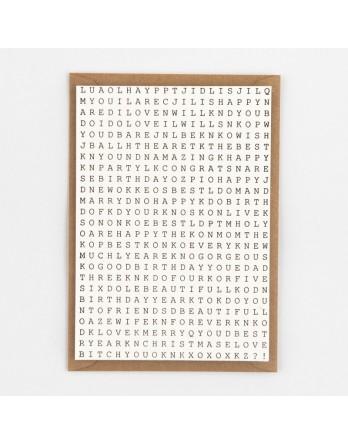 Wenskaart / Letterpress kaart - Swedish Puzzle