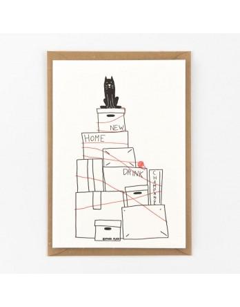 Wenskaart - Verhuizing - Moving the cat