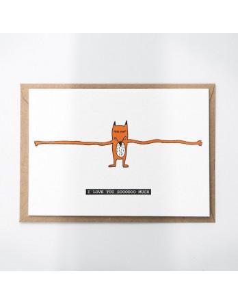 Wenskaart / Letterpress kaart - Love you so much