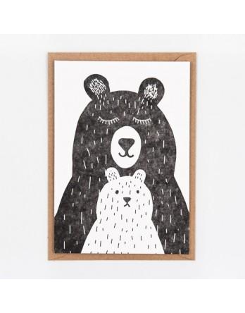 Wenskaart / Letterpress kaart - Two Bears