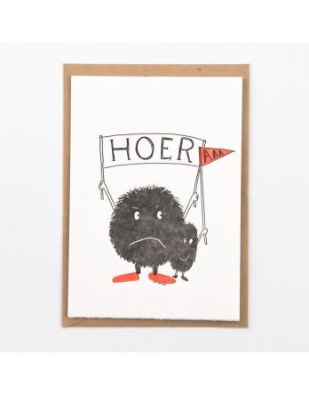 Wenskaart / Letterpress kaart - Hoer-a - verjaardag